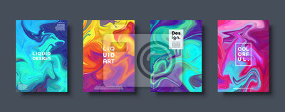 Sticker Colorful abstract geometric background. Liquid dynamic gradient waves. Fluid marble texture. Modern covers set. Eps10 vector.