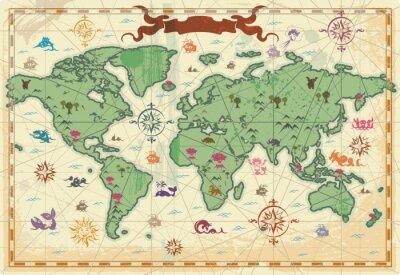 Colorful ancienne carte du monde