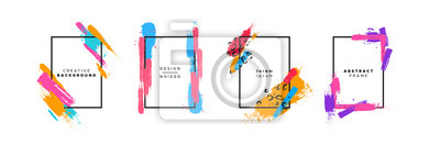 Sticker Colorful brush paint background template set