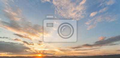 Sticker colorful dramatic sky with cloud at sunset
