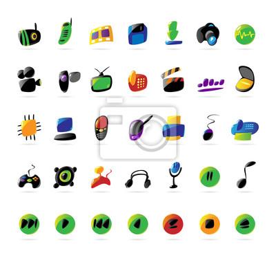 Colorful icônes pour les appareils électroniques et la musique