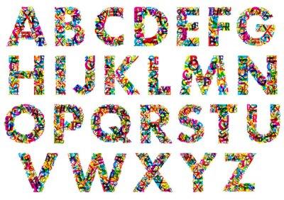 Sticker Colorful lettres de l'alphabet en majuscules