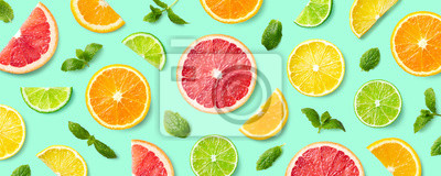 Sticker Colorful pattern of citrus fruit slices and mint leaves
