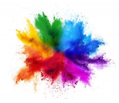 Sticker colorful rainbow holi paint color powder explosion isolated white background