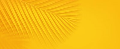 Sticker Colorful summer background with copy space. Bright yellow 3d illustration of tropical palm branch.