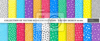Sticker Colorful vibrant vector collection of memphis seamless patterns. Fashion design 80-90s. Bright stylish textures.
