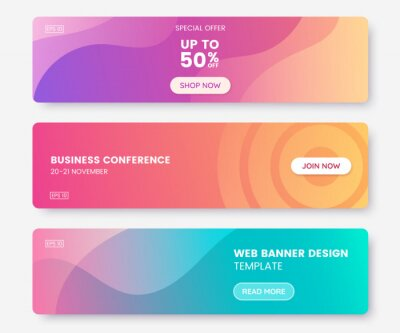 Sticker Colorful web banner with push button. Collection of horizontal promotion banners with pastel gradient colors and abstract geometric backdrop.Header design. Vibrant coupon template. Vector eps 10
