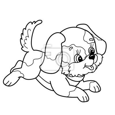 Coloriage Contour De Page De Mignon Chiot Cartoon Chien Joyeux
