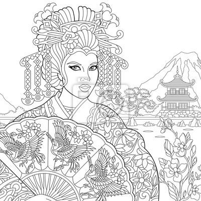 Coloriage Adulte Geisha.Sticker Coloriage De Geisha Actrice Dansante Japonaise Tenant Un Eventail