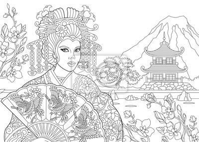 Coloriage De La Geisha Actrice De Danse Japonaise Avec Pagode Autocollants Murales Geisha Pagode Coloration Myloview Fr
