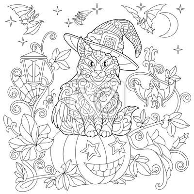 Coloriage Chat Volant.Coloriage Halloween Chat Dans Un Chapeau Citrouille Dhalloween