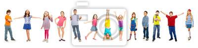 Sticker Combinaison de garçons et de filles isolé sur blanc