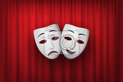 Sticker Comedy and Tragedy theatrical mask isolated on a red curtain background. Vector illustration.
