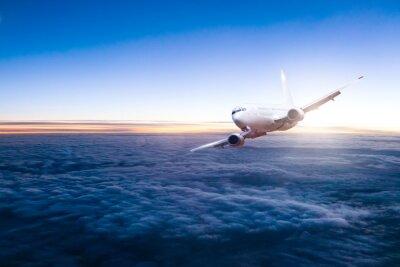 Sticker Commercial, jet, avion, voler, au-dessus, nuages