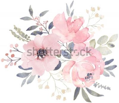 Sticker Composition de bouquet décorée de fleurs aquarelles rose poussiéreuses et de verdure d'eucalyptus