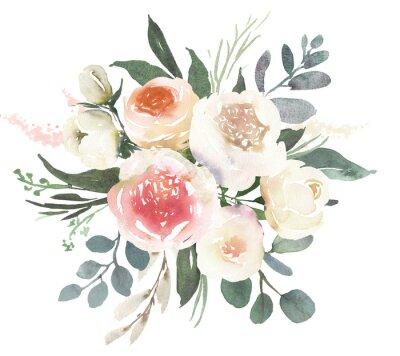 Sticker Composition de bouquet floral de mariage aquarelle avec des roses blanches et eucalyptus
