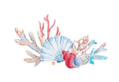 Sticker Composition de corail aquarelle
