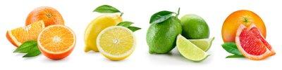 Sticker Composition de fruits avec des feuilles isolées sur fond blanc. Ora