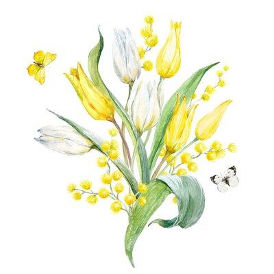 Sticker Composition de tulipes aquarelle