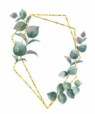 Sticker Composition de vecteur aquarelle à partir des branches d'eucalyptus et cadre géométrique or.