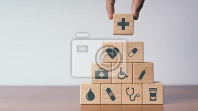 Sticker Concept d'assurance pour votre santé, Bloc en bois avec icône de santé médical