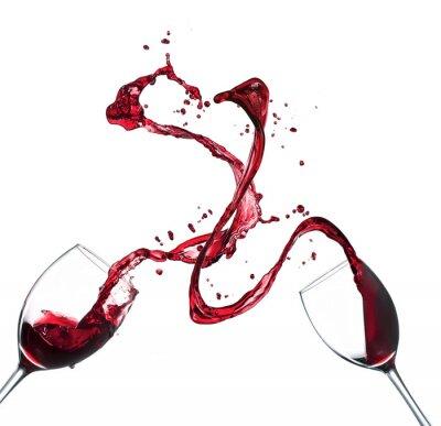Sticker Concept d'éclaboussures de vin rouge dans des verres sur fond blanc