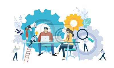Sticker Concept d'illustration vectorielle de travail d'équipe, gestion de projet, flux de travail, mécanisme de gestion, recherche et développement. Design plat créatif pour bannière Web, matériel de marketi
