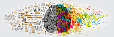 Sticker Concept de cerveau humain gauche droit. Partie créative et partie logique avec doodle social et commercial