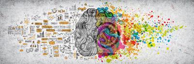 Sticker Concept de cerveau humain gauche droite, illustration texturée. Partie gauche et droite créative du concept de pièces du cerveau humain, des émotions et de la logique avec illustration sociale et comm
