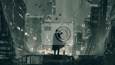 Sticker concept de film noir montrant le détective tenant une arme à feu à la tête et debout sur le toit la nuit pluvieuse, style art numérique, illustration peinture