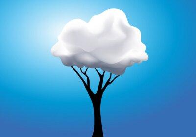 Sticker Concept de la rêverie surréaliste avec un arbre dont le feuillage est remplacé par un nuage blanc.
