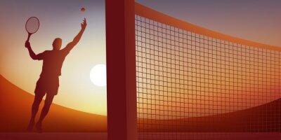 Concept de la victoire avec une action de jeu dans un match de tennis, où un joueur s'élance pour frapper la balle lors d'un service gagnant.