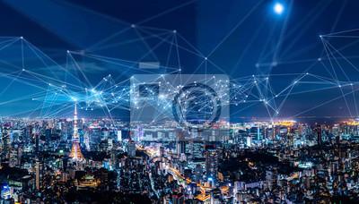 Sticker Concept de réseau de ville et de communication intelligente. IoT (Internet des objets). TIC (réseau de communication de l'information).