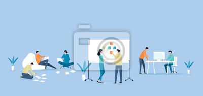 Sticker concept de réunion procss équipe de travail vecteur plat équipe de travail et projet de collaboration