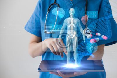Sticker Concept de technologie médicale. Dossier médical électronique.