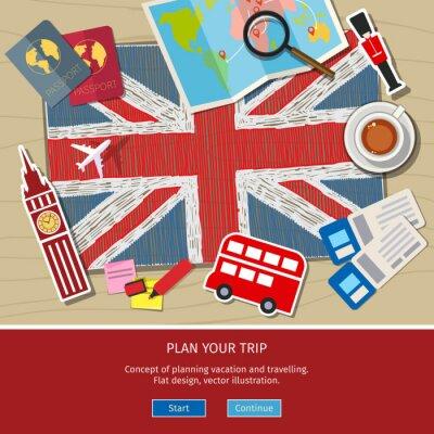 Sticker Concept de voyager ou d'étudier l'anglais.
