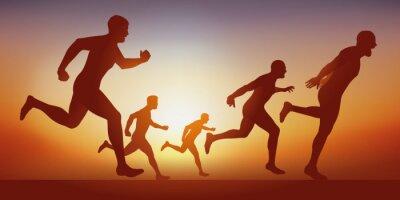 Concept du sprint dans une compétition d'athlétisme avec des champions de course à pied qui passent la ligne d'arrivée d'un 100 mètres.