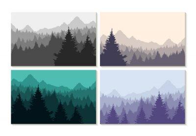 Sticker Concept, Illustration, hiver, forêt, paysage, ensemble