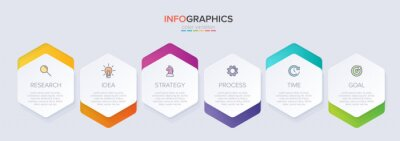 Sticker Concept of arrow business model with 6 successive steps. Six colorful graphic elements. Timeline design for brochure, presentation. Infographic design layout