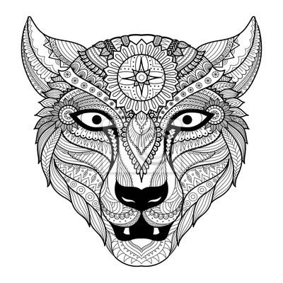 Conception Dart De Ligne De Leopard Pour Le Livre De Coloriage Autocollants Murales Hippie Realises A La Main Mandala Myloview Fr