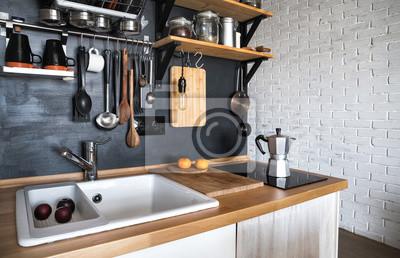 Sticker: Conception dune cuisine maison moderne dans le grenier et le