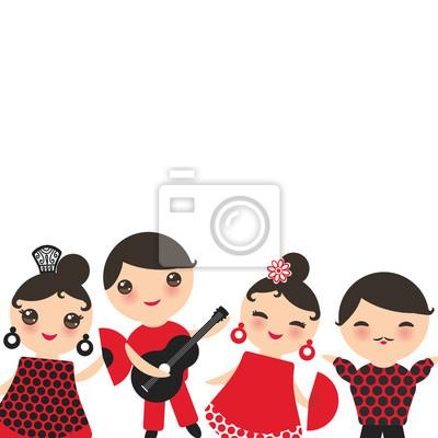 Sticker Conception De Carte Danseur Flamenco Espagnol Modele Banniere Kawaii Mignon