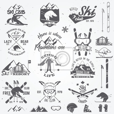 Sticker Conception de club de ski. Illustration vectorielle.