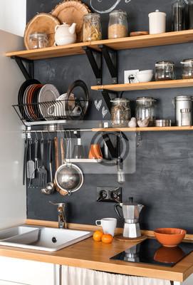 Conception de cuisine moderne dans le style loft et rustique ...