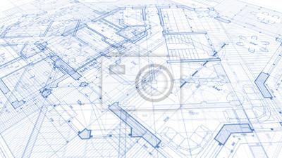 Sticker Conception de l'architecture: plan directeur - illustration d'un plan de construction résidentielle moderne / technologie, industrie, concept d'entreprise illustration: immobilier, bâtiment, construct