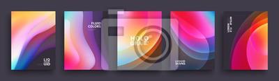 Sticker Conception de modèle de couvertures modernes. Couleurs fluides. Ensemble de formes dégradées holographiques à la mode pour présentations, magazines, prospectus, rapports annuels, affiches et cartes de