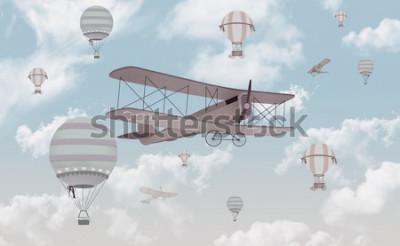 Sticker Conception de papier peint pour chambre d'enfants biplan dans le ciel