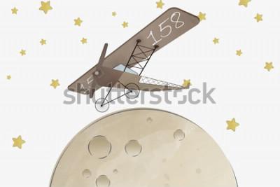 Sticker Conception de papier peint pour chambre d'enfants biplan et lune