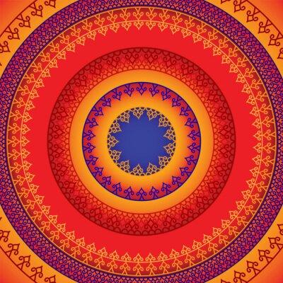 Sticker Conception Henna Mandala ethnique et coloré, très élaborée et facilement modifiable