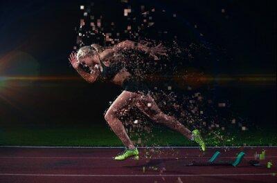Sticker conception pixélisé de la femme sprinter laissant starting-blocks
